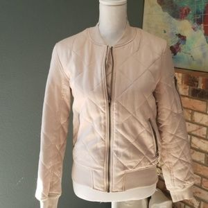 KENDALL & KYLIE SMALL BLUSH QUILTED BOMBER JACKET